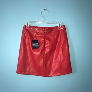 NWT FOREVER 21 RED LEATHER MINI SKIRT 26""